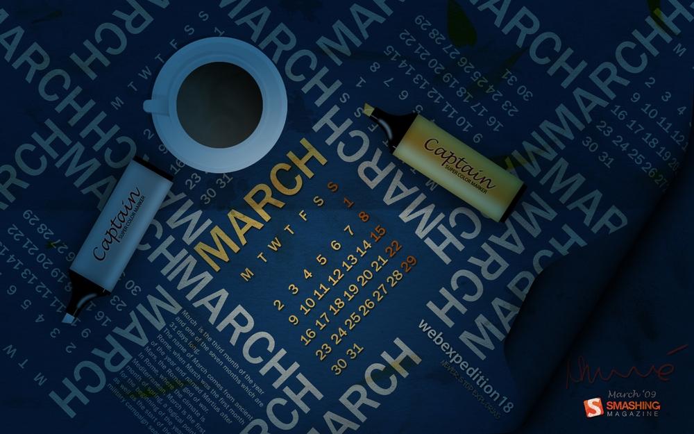 mars09 Fonds écran calendrier Mars 2009